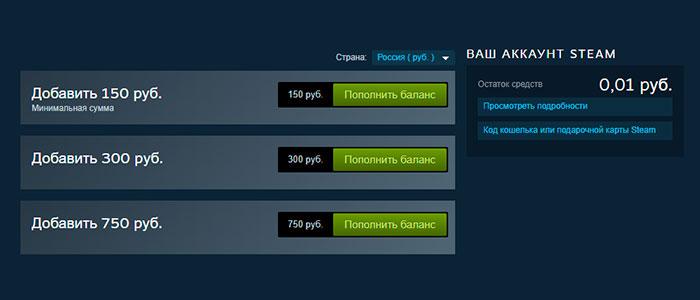 Баланс Steam