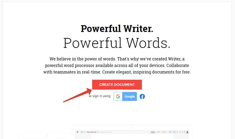 """Чтобы создать документ, кликните на """"Create Document"""""""