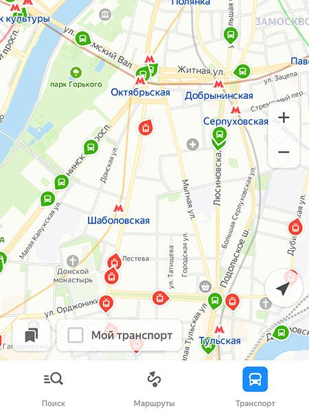 Движение автобусов на карте